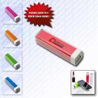 Powerbank batterie de secours batterie externe en plastique en forme de tube